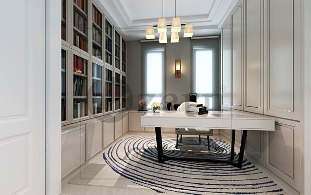 Grand Victorian design for study area with a awesome pendent light.