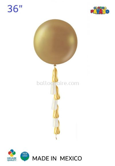 "36"" METALLIC GOLD BALLOON KIT + TASSEL (1 PCS/PKT)"