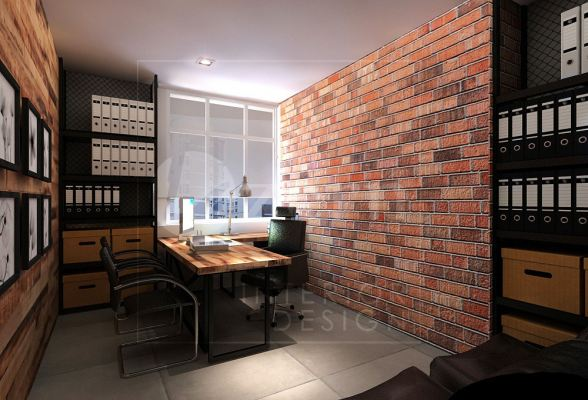 Director room full of Brick wall & wooden wall to brings out the taste of truly Industrial.