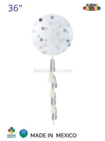 "36"" DECORATOR TRANSPARENT BALLOON KIT SILVER STAR CONFETTI + TASSEL"