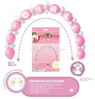GLOBOS PAYASO BABY SHOWER ARCH GIRL KIT