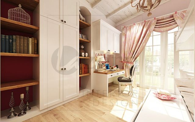 Girl's bedroom wardrobe combine with display cabinet for more spacious interior.