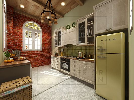 Wet kitchen with solid wood cabinet, green tiles & red color brick wall.
