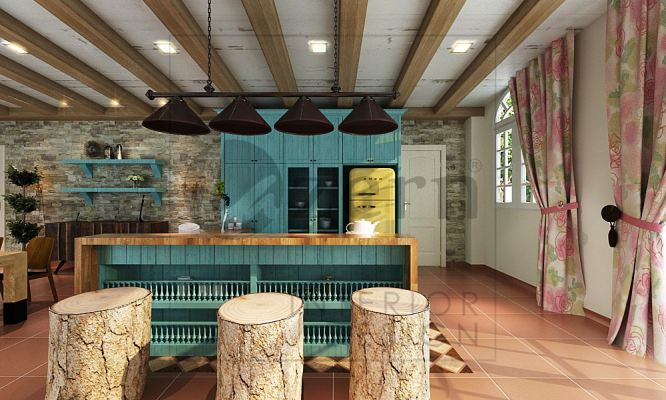 Kitchen cabinet by using Turquoise color for the wooden panel brings out an antic rough feeling.