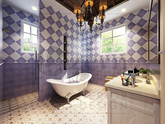 Purple tiles for this cottage house's bathroom.