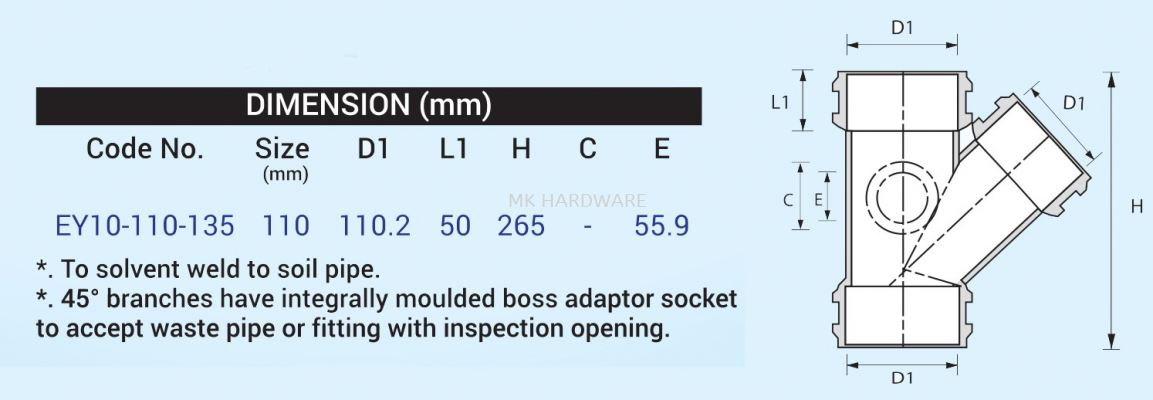 UPVC FITTING - Y JUNCTION