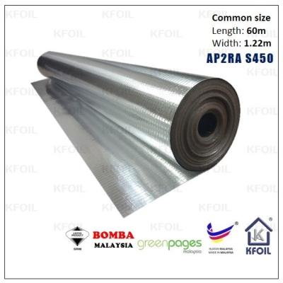 (AP2RA S450) FR D/S 8 Layers Reflective Aluminium Paper Foil,16x8 Fiberglass Scrim Reinforced