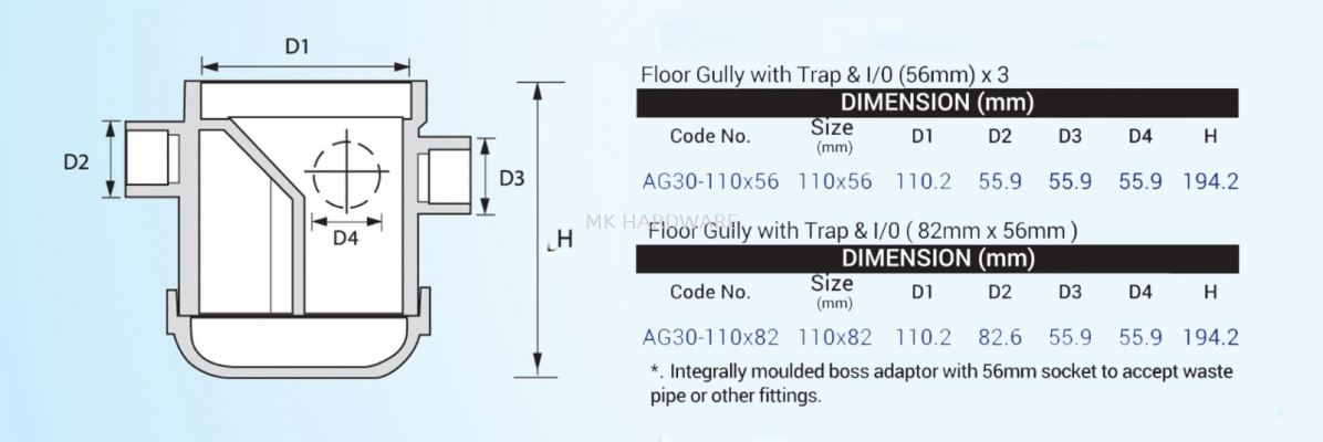 UPVC FITTING - FLOOR GULLY WITH TRAP