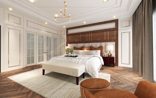 Master bedroom with strong wood grains blend with bronze mirror.