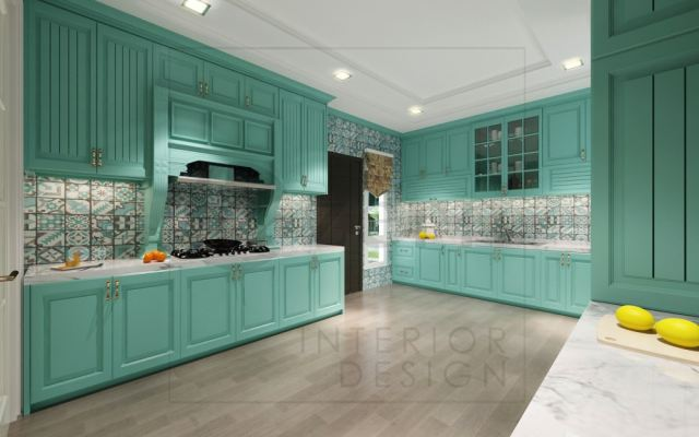 Wet kitchen area by using strong turquoise color & designer tiles on wall.
