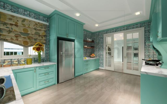 Volakas marble are blends well with strong turquoise color cabinet.