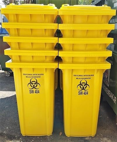 Yellow Medical Waste Bin 240L Bio hazard Bin