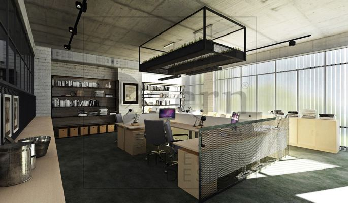 Workstation Area with ceiling hung steel structure for plants.