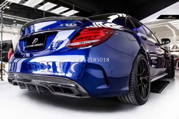 mercedes benz w205 amg line fd style replace upgrade rear diffuser real carbon fiber material