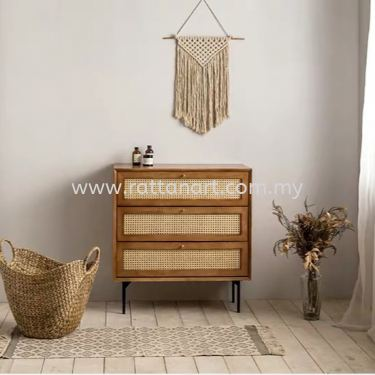 WOODEN SIDEBOARD CABINET LEON (WITH RATTAN NETTING)