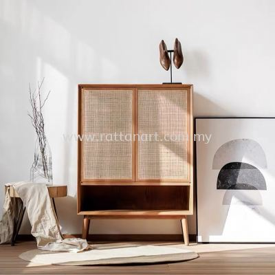 WOODEN SHOES CABINET FERDI (WITH RATTAN NETTING)