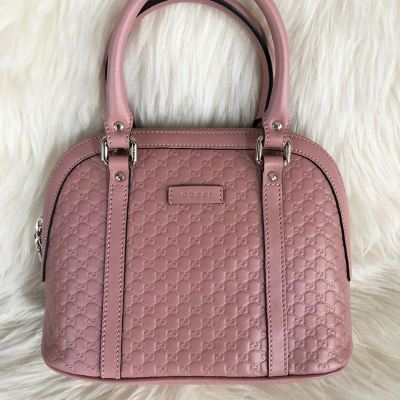 Brand New Gucci Microguccissima Full Leather in Pink with Long Strap