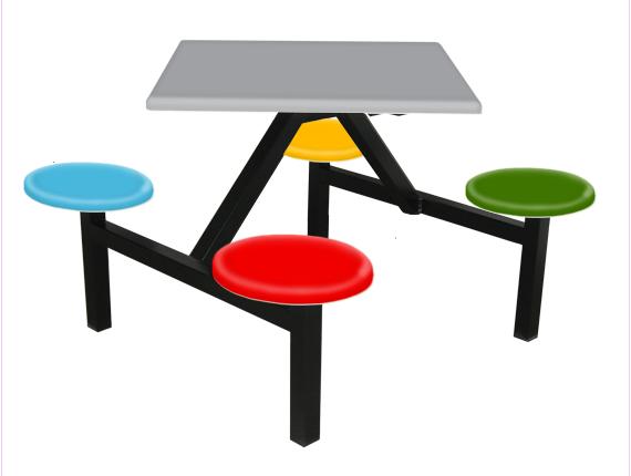 4 Seater Canteen Table - AK404F Fiberglass Table sets