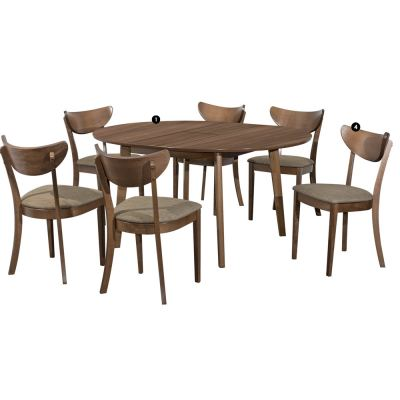 Cartier (1+6)Solid Wood Extendable Dining Table