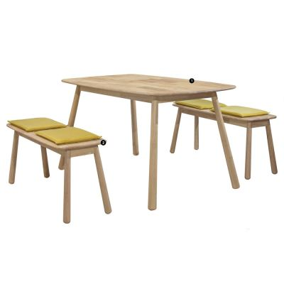 Baseball (1+2) Solid Wood Dining Set