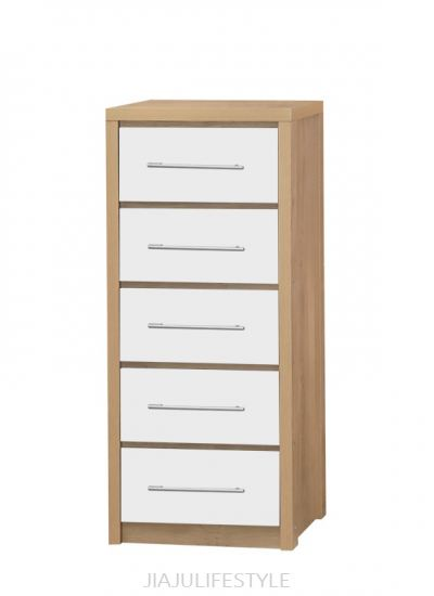 5 Drawer Chest with High Gloss White