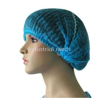 Non-woven Blue Hairnet / Mob Cap with Single Elastic 9gsm 19""