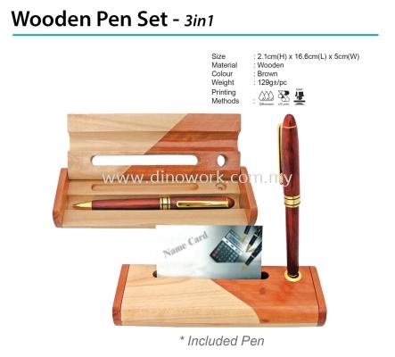Wooden Pen Set - 3in1