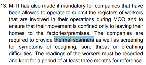 MITI Required To Install Thermal Imaging Camera