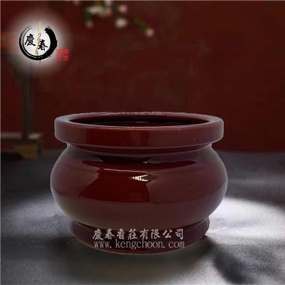 朱红光身香炉QH255