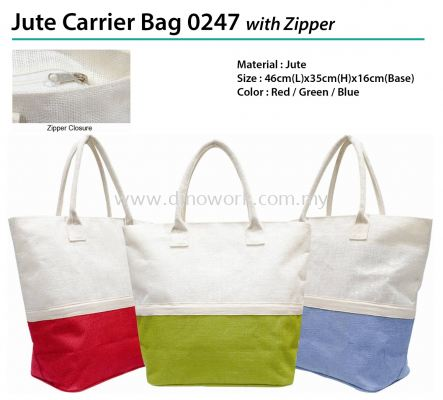 Jute Carrier Bag 0247 with Zipper