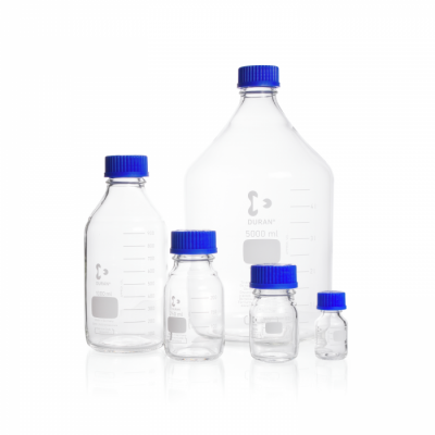 Duran Laboratory Bottles, Clear, with Din Thread, Graduated c/w Local Blue PP Screw Cap and Pouring ring
