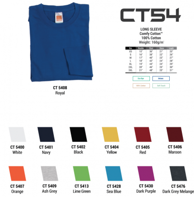 160gsm Cotton Round Neck Long Sleeve Shirt - CT 54
