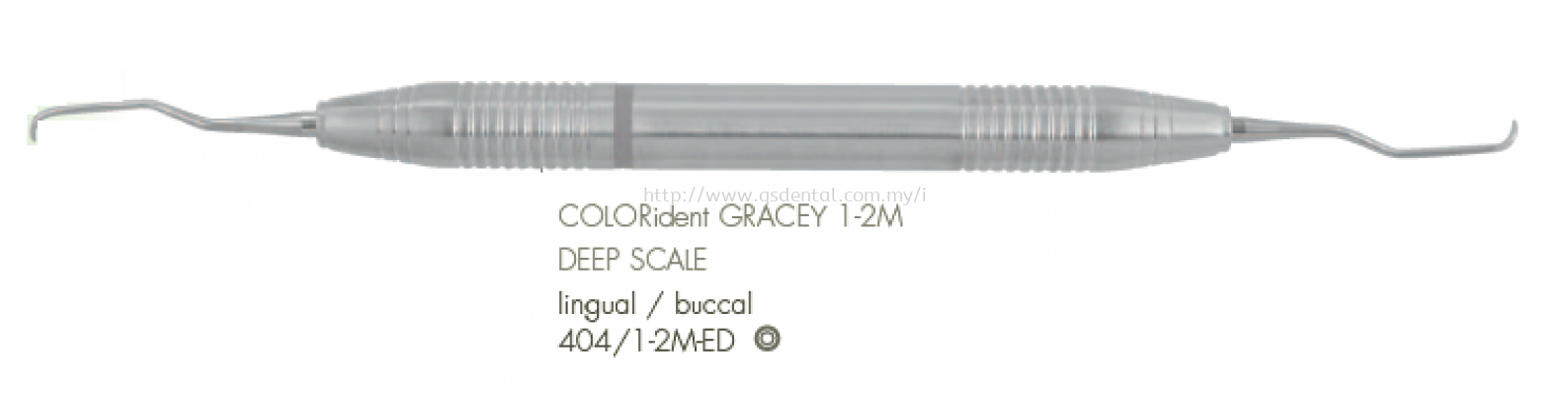 404/1-2M-ED 10mm Handle With COLORident Deep Scale Lingual / Buccal No.1-2M Gracey Curettes