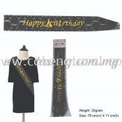 Happy Birthday Sash - Black (P-AC2-HBBL)