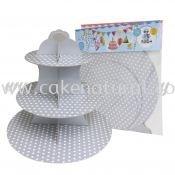 Cup Cake Stand Polka Dot *SILVER (P-CS-PDSI)