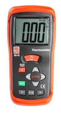 123-1937 - RS PRO RS42 Digital Thermometer, 2 Input Handheld, K Type Input