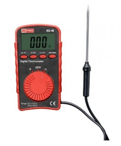 136-5671 - RS PRO RS40 Digital Thermometer, 1 Input Pocket