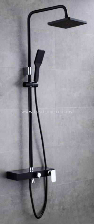 RAIN SHOWER POST 3 WAY - BLACK