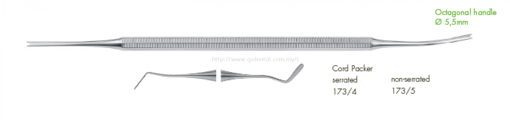5.5mm Octagonal Handle Serrated & Unserrated Cord Packer