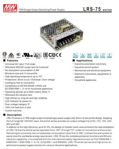 LRS-75 Series Power Switching supply