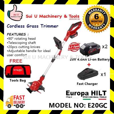 Europa Hilt E20GC Cordless Grass Trimmer With Starter Kit 2.0 (2pcs 4.0Ah Battery, 1pc Charger, 1pc