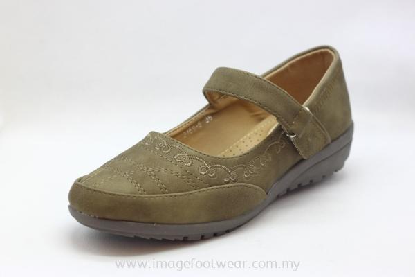 Lady Wider & Comfort Shoe -TF-2159-5- KHAKI Colour