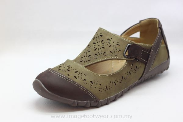 Lady Flat Trendy Comfort Shoe -TF- 01-67 - KHAKI Colour