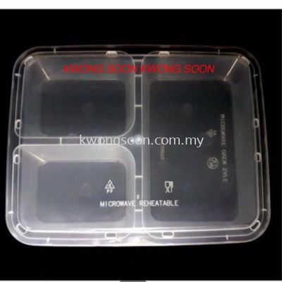 1200 Three Compartment Container Microwave Reheatable