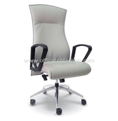 DICKY DIRECTOR HIGH BACK LEATHER CHAIR WITH CHROME TRIMMING LINE