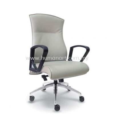 DICKY DIRECTOR MEDIUM BACK LEATHER CHAIR WITH CHROME TRIMMING LINE