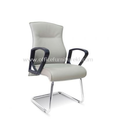 DICKY DIRECTOR VISITOR LEATHER CHAIR WITH CHROME TRIMMING LINE