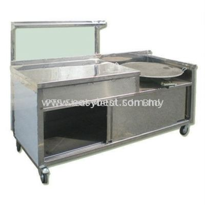 Roti Canai Counter with with Glass Showcase + Hot Plate + Burner