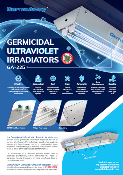 GermsAway GA-225 GERMICIDAL PHILIPS TUV 25W ULTRAVIOLET IRRADIATORS