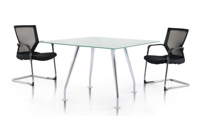 Square tempered glass discussion table with Ixia chrome leg